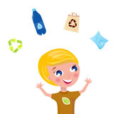 Little boy support recycling isolated on white. Boy juggling with pet bottle, recycle sign, paper and eco bag. Vector Illustration Royalty Free Stock Images