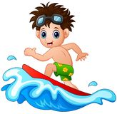 Little boy surfing on a big wave Stock Photos