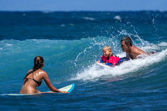 Little boy surfing on Maui. Stock Photography