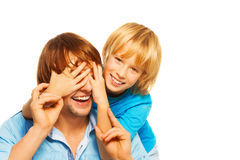 Little boy surprise happy father Royalty Free Stock Photography