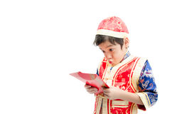 Little boy surprise with present in chinese new year Stock Photos