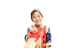 Little boy surprise with present in chinese new year Royalty Free Stock Images