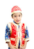 Little boy surprise with present in chinese new year Royalty Free Stock Image