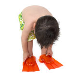 Little Boy with Swim Fins Royalty Free Stock Photo