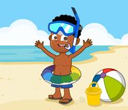 Little boy in swim ring. Young African american boy swim ring on beach snorkel set Royalty Free Stock Photo