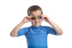 Little boy in swimming clothes with mask Stock Photography