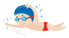 Little boy swimming freestyle. Illustration Stock Image