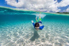 Little boy swimming in ocean Royalty Free Stock Photography