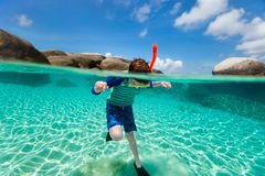 Little boy swimming in ocean Royalty Free Stock Images