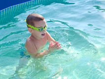 Little boy swimming in the swimming pool Royalty Free Stock Image