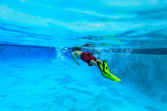 Little boy swimming underwater, active kids Royalty Free Stock Photo