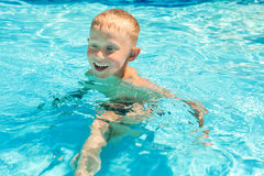 Little boy swims in pool royalty free stock photo