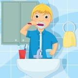 Little Boy Szczotkuje zębu wektoru ilustrację Zdjęcie Royalty Free