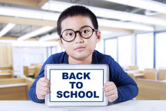 Little boy with tablet back to school Royalty Free Stock Photography