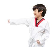 Little boy in taekwondo class indoor activities Stock Image