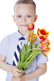 Little boy take flowers Royalty Free Stock Photo