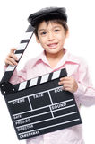 Little boy take slate clap board studio Royalty Free Stock Images