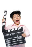 Little boy take slate studio Royalty Free Stock Photo