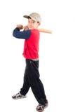 Little boy taking baseball bat on white background Stock Photo