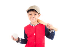 Little boy taking baseball bat on white background. Little boy taking baseball bat isolate on white background Royalty Free Stock Photography