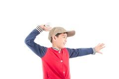 Little boy taking baseball bat on white background Stock Image