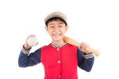 Little boy taking baseball bat on white background Royalty Free Stock Images
