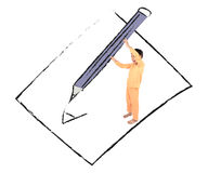 Little boy taking big pencil writing on paper drawing line Stock Photos
