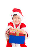 Little boy taking giving present on christmas time Stock Images