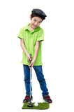 Little boy taking golf club stock image