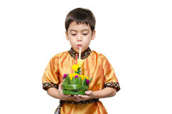 Little boy taking krathong in Loy Krathong floating festival Stock Photography