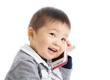 Little boy talk to mobile Stock Photo