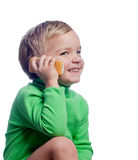 Little boy talking on mobile phone Stock Photos