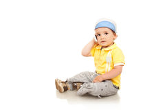 Little boy talking on the mobile phone Stock Images