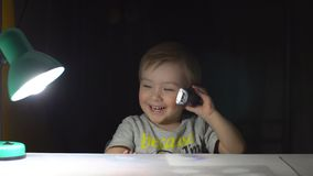 Little Boy Talking On The Phone.  stock video footage