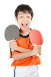 Little boy talking table tennis bat on white background Stock Photos