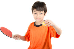 Little boy talking table tennis bat on white background Royalty Free Stock Photo