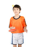 Little boy talking table tennis bat on white background Stock Photo