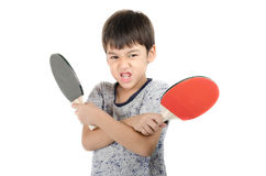 Little boy talking table tennis bat on white background Royalty Free Stock Photos