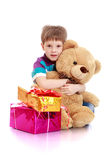 The little boy with a teddy bear Royalty Free Stock Images