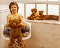 Little boy with teddy bear Royalty Free Stock Image