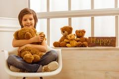 Little boy with teddy bear Royalty Free Stock Photo