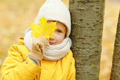 Little boy teenager in a yellow jacket in the fall, closing one stock images