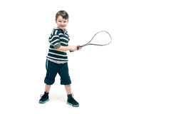 Little boy with tennis racket Stock Images