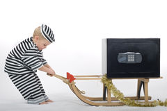Little boy in thief outfit Stock Images
