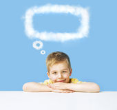 Little boy with a thought Stock Images