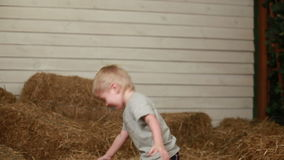 Little boy throwing bale of straw stock video