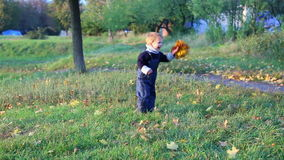 Little boy throwing the bunch of autumn leaves stock video footage