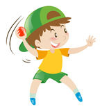 Little boy throwing red boy Stock Image