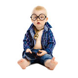 Little boy in a tie and glasses on a white background Stock Photos