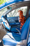Little boy in tiger costume is in the car Royalty Free Stock Photos